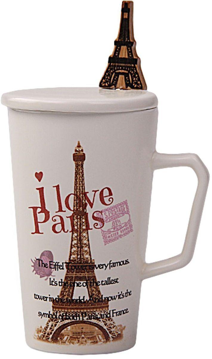 Кружка Patricia Париж, с ложкой и крышкой, 350 мл. IM99-0553/2IM99-0553/2Кружка выполнена из керамики высшего качества. В комплекте идет ложка из стали. Изделие декорировано рисонком с изображением эйфелевой башни. Кружка 12,5х7 см, объем 350 мл ложка длина 16,5 см.
