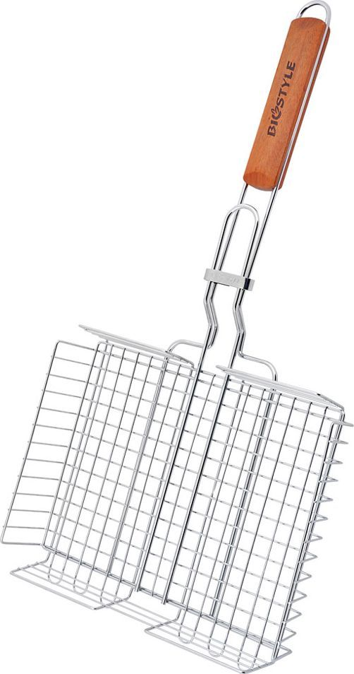 Решетка-гриль Biostyle Семейная, с регулируемой высотой, 28 х 22,2 см101-204Решетка-гриль Biostyle Семейная предназначена для приготовления мяса, шашлыков, окороков, колбасок, сосисок, рыбы, овощей и прочих продуктов на открытой шашлычнице, в камине, на костре. Решетка изготовлена из высококачественной стали с хромированным покрытием, что облегчает процесс мытья решетки. Деревянная ручка облегчает эксплуатацию изделия и исключает возможность получения ожога. В производстве используются только экологически чистые материалы. Приготовления продуктов с помощью решетки не требует использования жиров и масел, поэтому в продуктах сохраняются все полезные компоненты и не образуются вредные для организма вещества.Высота регулируется от 0,5 до 4.5 см.Размер рабочей поверхности решетки (без учета ручки и усиков): 28 х 22,2 см.Толщина проволоки: 2 мм.