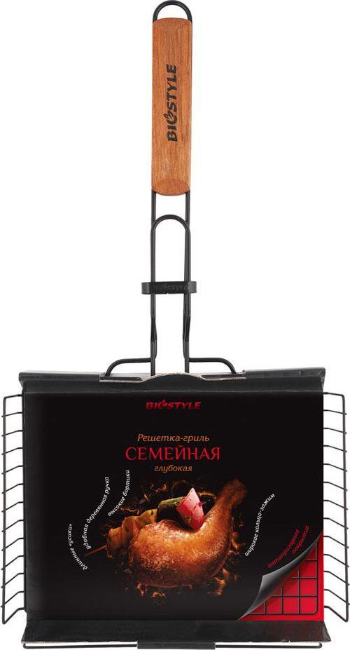 Решетка-гриль Biostyle Семейная, с антипригарным покрытием, с регулируемой высотой, 28 х 22,2 см101-205Решетка-гриль Biostyle Семейная с регулируемой высотой изготовлена из высококачественной стали. На решетке удобно размещать рыбу средних размеров, а также стейки, ребрышки, гамбургеры, сосиски, овощи.Решетка предназначена для приготовления пищи на углях. Блюда получаются сочными, ароматными, с аппетитной специфической корочкой. Благодаря высококачественному антипригарному покрытию пища не прилипает к прутьям решётки, после использования ее достаточно протереть влажной салфеткой.Рукоятка изделия оснащена деревянной вставкой и фиксирующей скобой, которая зажимает створки решетки. Высота варьируется от 0,5 до 4,5 см. Размер рабочей поверхности решетки (без учета усиков и ручки): 28 х 22,2 см.Толщина проволоки: 2 мм.
