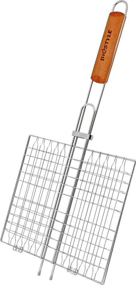 Решетка-гриль Biostyle Туристическая, 6 секций, 26,5 х 24 см101-206Решетка-гриль Biostyle Туристическая изготовлена из высококачественной стали, поэтому при длительном использовании она не теряет своей формы, а так же вы легко удалите с нее остатки пищи. В решетке-гриль 6 секций, удобно готовить мясо, рыбу, морепродукты и овощи одновременно, избегая соприкосновения продуктов между собой. Рукоятка изделия оснащена деревянной вставкой и фиксирующей скобой, которая зажимает створки решетки. Размер рабочей поверхности решетки (без учета усиков и ручки): 26,5 х 24 см.Толщина прута: 2 мм.
