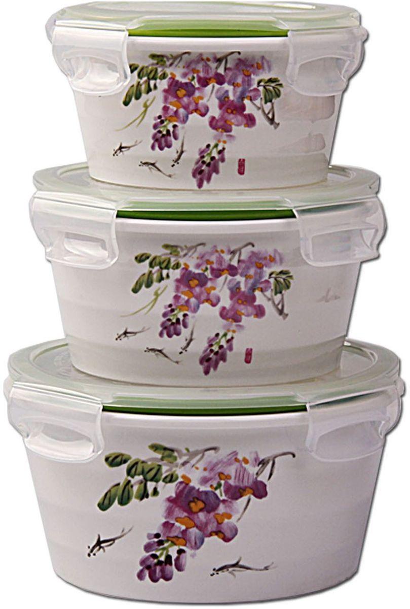 Набор контейнеров Patricia Small, 3 шт., с крышками. IM99-5286IM99-5286Набор банок выполнен из керамики. Герметичные контейнеры, устойчивы к протеканию, отлично подходят для хранения и перевозки жидкостей, легко моются и удобны в использовании. Размеры: контейнер 14х7 см / 700 мл; контейнер 15х8 см / 1200 мл; контейнер 12,5х6 см / 400 мл.