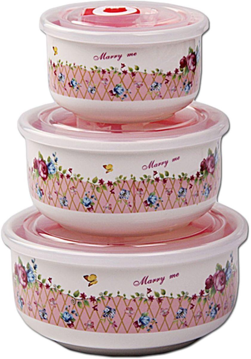 Набор контейнеров Patricia Small, 3 шт., с крышками. IM99-5288/2IM99-5288/2Набор банок выполнен из керамики. Герметичные контейнеры, устойчивы к протеканию, отлично подходят для хранения и перевозки жидкостей, легко моются и удобны в использовании. Размеры: контейнер 7,5х14,5 / 1000 мл; контейнер 7,5х12 / 600 мл; контейнер 6х9,5 / 300 мл.