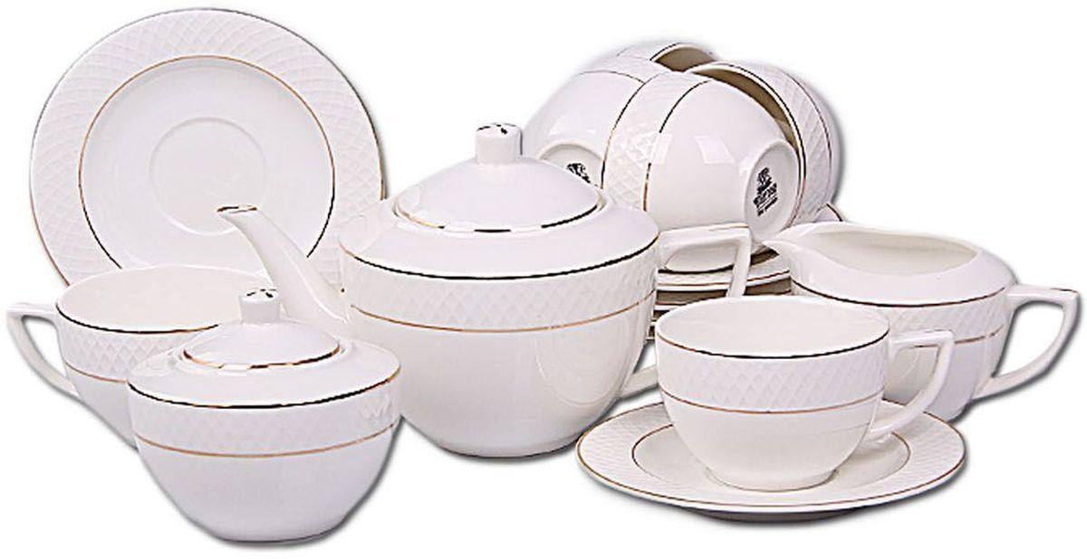 Набор чайный Patricia Золото, 15 предметов. IM99-5294IM99-5294Чайный набор Patricia Золото включает в себя 15 предметов: 6 чашек (200 мл), 6 блюдец, заварочный чайник (1 л), молочник (300 мл) и сахарницу (400 мл). Изделия выполнены из фарфора безупречной белизны. Все элементы набора декорированы позолотой. Набор имеет подарочную упаковку. Внимание! Изделия нельзя использовать в посудомоечной машине.