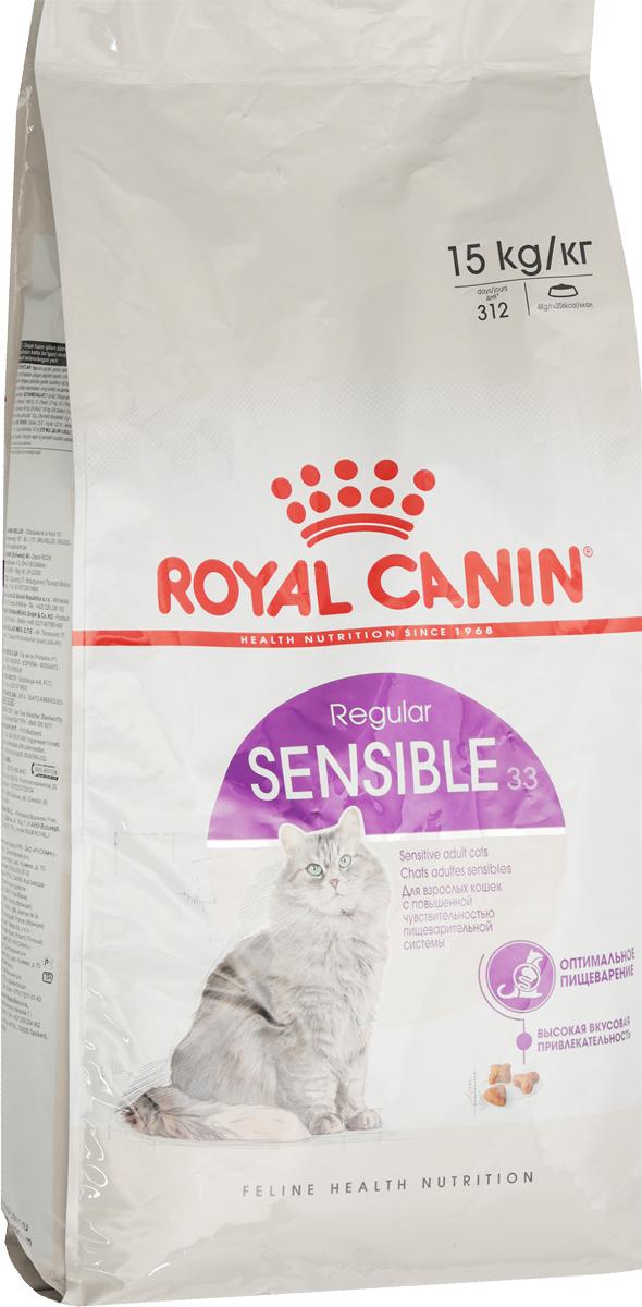 Корм сухой Royal Canin Sensible 33, для кошек с чувствительной пищеварительной системой, 15 кг441150Сухой корм Royal Canin Sensible 33 - полнорационный корм для кошек с чувствительной пищеварительной системой, рекомендуемый для кошек старше 1 года. Некоторые кошки отличаются особой предрасположенностью к расстройствам пищеварения. Непривычный корм, стресс и другие факторы способны спровоцировать у них диарею и/или рвоту.Иногда расстройства пищеварения у кошек могут возникать даже без видимой причины. Легко усвояемый рацион поможет смягчить подобные проявления. Специально разработанный состав корма Sensible 33 помогает обеспечить нормальную работу пищеварительной системы вашей кошки.Оптимальный баланс кишечной микрофлоры также способствует хорошему пищеварению, обеспечивая комфорт вашей кошки. Защита пищеварительной системы.Кошкам с чувствительной пищеварительной системой необходим рацион, обеспечивающий оптимальное пищеварение. Эффективная защита достигается благодаря входящему в состав корма эксклюзивному комплексу питательных веществ, способствующих улучшению процессов пищеварения. Гарантирует эффективную защиту пищеварительной системы кошки благодаря использованию в корме только легкоусвояемых белков L.I.P., снижающих количество непереваренных остатков пищи в кишечнике, высокому содержанию риса, присутствию фруктоолигосахаридов и свекольного жома. Поддерживает баланс кишечной микрофлоры за счет содержания в корме фруктоолигосахаридов и свекольного жома. Состав: дегидратированные белки животного происхождения (птица), рис, животные жиры, кукуруза, изолят растительных белков L.I.P., дегидратированные белки свинины L.I.P., дегидратированные белки животного происхождения (свинина) L.I.P., гидролизат белков животного происхождения, пшеница, кукурузная клейковина, дрожжи, рыбий жир, свекольный жом, минеральные вещества, соевое масло, растительная клетчатка, фруктоолигосахариды. Добавки (в 1 кг): медь — 21 мг,железо — 197 мг,марганец — 66 мг/кг,цинк — 209 мг,селен — 0,3