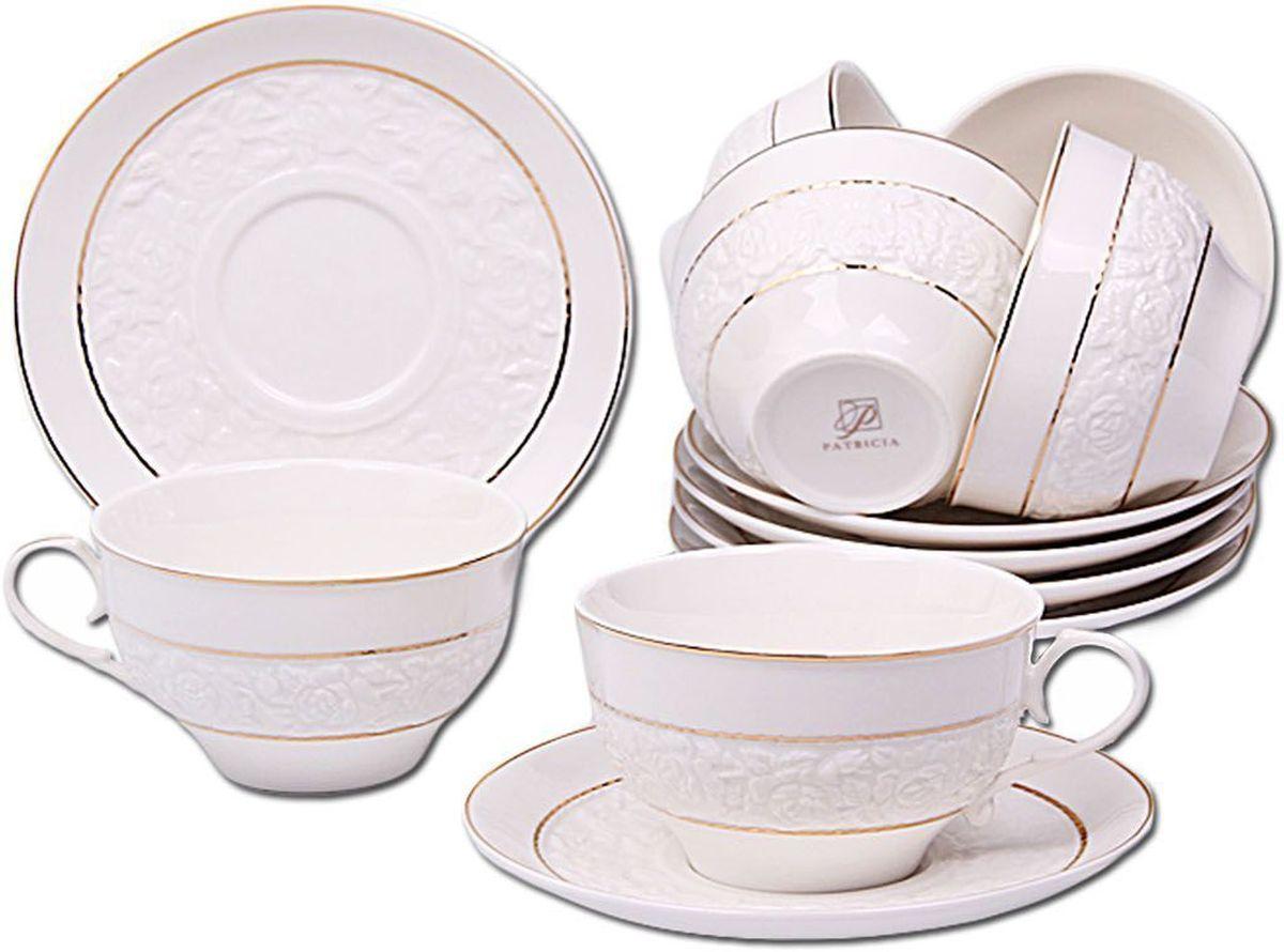 Набор чайный Patricia, 12 предметов. IM56-1522IM56-1522Чайный набор Patricia состоит из 6 чашек и 6 блюдец.Набор, выполненный из высококачественного фарфора, изящно дополнит сервировку стола к чаепитию. Нерекомендуется мыть в посудомоечной машине ииспользовать в микроволновой печи.Объем чашки: 250 мл. Диаметр блюдца: 15 см.