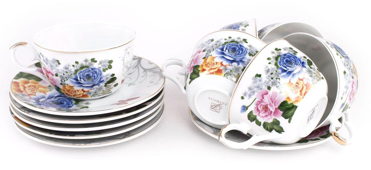 Набор чайный Patricia, 12 предметов. IM56-2022IM56-2022Чайный набор Patricia состоит из 6 чашек и 6 блюдец. Набор, выполненный из высококачественного фарфора, изящно дополнит сервировку стола к чаепитию. Не рекомендуется мыть в посудомоечной машине и использовать в микроволновой печи.Объем чашки: 250 мл. Диаметр блюдца: 15 см.