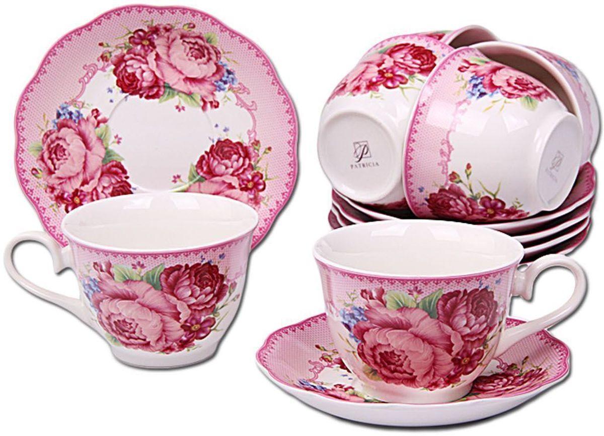 Набор чайный Patricia, 12 предметов. IM56-2122IM56-2122Чайный набор Patricia состоит из 6 чашек и 6 блюдец. Набор, выполненный из высококачественного фарфора, изящно дополнит сервировку стола к чаепитию. Не рекомендуется мыть в посудомоечной машине и использовать в микроволновой печи.Объем чашки: 250 мл. Диаметр блюдца: 15 см.