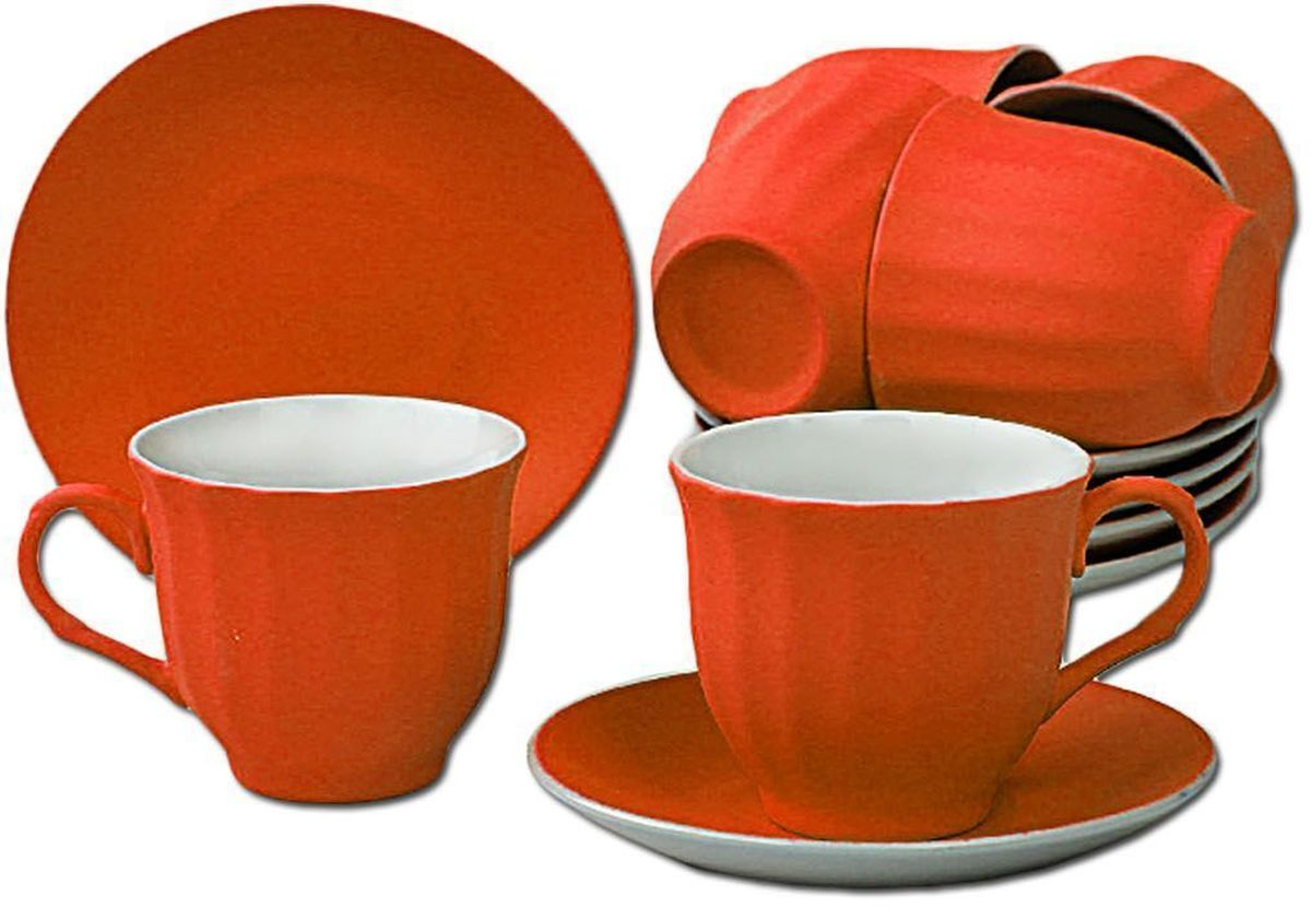 Чайный набор Patricia, цвет: оранжевый, 12 предметов. IM99-5292 конфетница на ножке patricia диаметр 25 см im99 5730