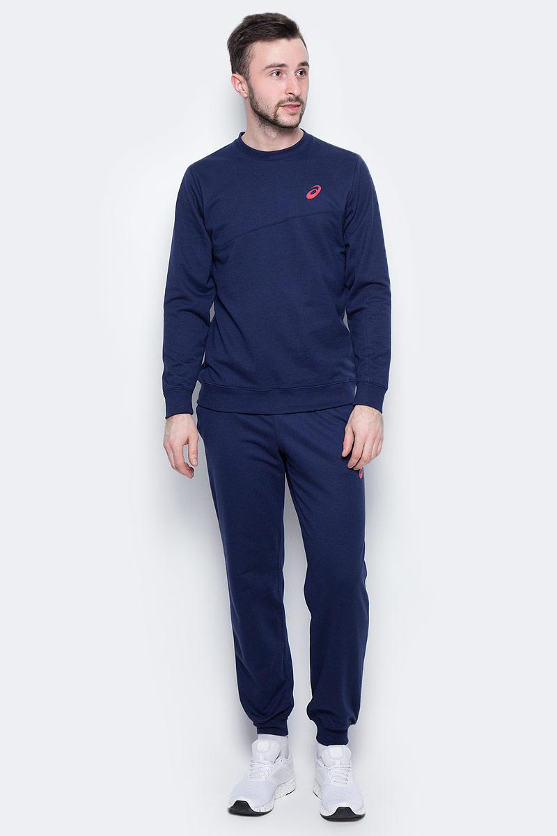 Костюм спортивный мужской Asics Sweater Suit, цвет: синий. 142895-0891. Размер M (48/50)142895-0891Удобный спортивный костюм для повседневных тренировок. Лонгслив с круглым вырезом горловины и длинными рукавами. Брюки дополнены эластичным поясом на талии и внутренним шнурком.