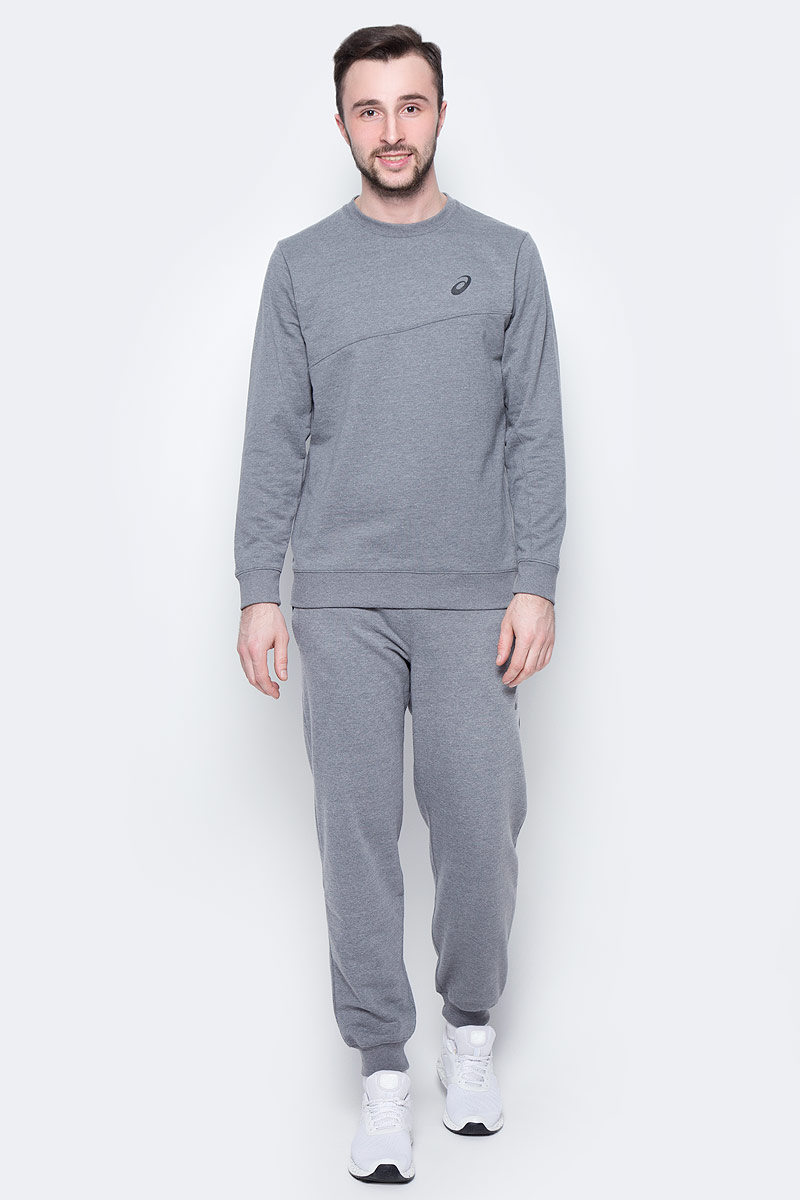 Костюм спортивный мужской Asics Sweater Suit, цвет: серый. 142895-0798. Размер M (48/50)142895-0798Удобный спортивный костюм для повседневных тренировок. Лонгслив с круглым вырезом горловины и длинными рукавами. Брюки дополнены эластичным поясом на талии и внутренним шнурком.