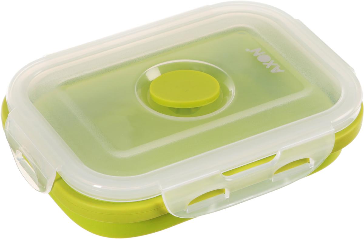 Контейнер для еды складной Axon, цвет: салатовый, прозрачный, 13,5 х 10 х 6,5 смVC-201Складной силиконовый контейнер Axon для еды станет вашим надежным помощником на кухне. Контейнер абсолютно герметичен. Пластиковая крышка оснащена четырьмя специальными защелками и выпускным клапаном. Силикон не впитывает запахи.Используйте контейнер для хранения и транспортировки любых пищевых продуктов: салатов, овощей, фруктов, соусов, мясных и рыбных блюд. Контейнер позволяет разогревать продукты в микроволновке, но без крышки, и замораживать в морозилке. После использования контейнер можно просто сложить, он становится в два раза меньше по высоте.Размер в разложенном виде (с учетом крышки): 13,5 х 10 х 6,5 см.Размер в сложенном виде (с учетом крышки): 13,5 х 10 х 3 см.