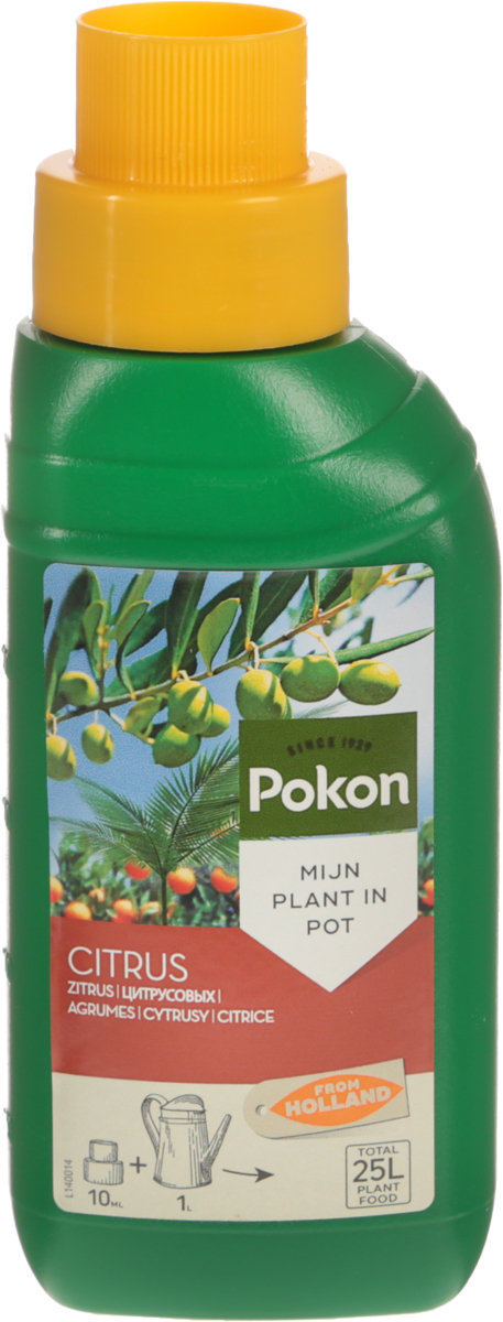 Удобрение Pokon, для цитрусовых растений, 250 мл8711969023871Сбалансированное удобрение с высоким содержанием азота Pokon специально разработано для подкормки цитрусовых и других средиземноморских растений, выращиваемых в горшках. Оно способствует формированию красивых и полезных плодов.Состав: жидкое удобрение с соотношением NPK 10 + 3 + 7.Удобрение соответствует нормам ЕС.Товар сертифицирован.