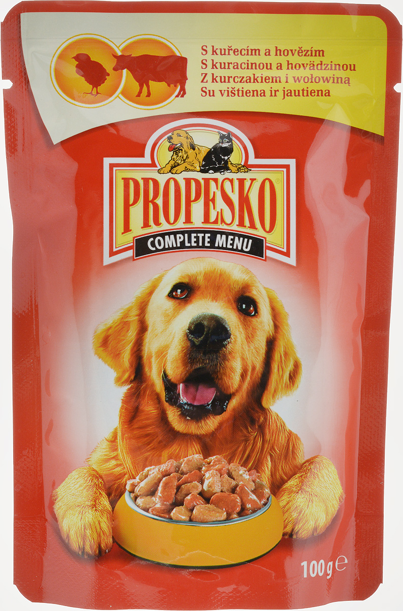 Консервы Propesko, для взрослых собак, с курицей и говядиной, 100 г консервы для собак clan de file с ягненком 340 г
