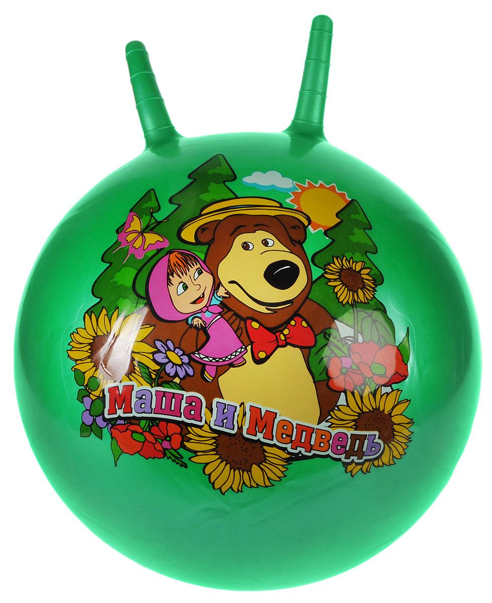 Играем вместе Мяч-прыгунок Маша и Медведь с рожками цвет зеленый 45 см