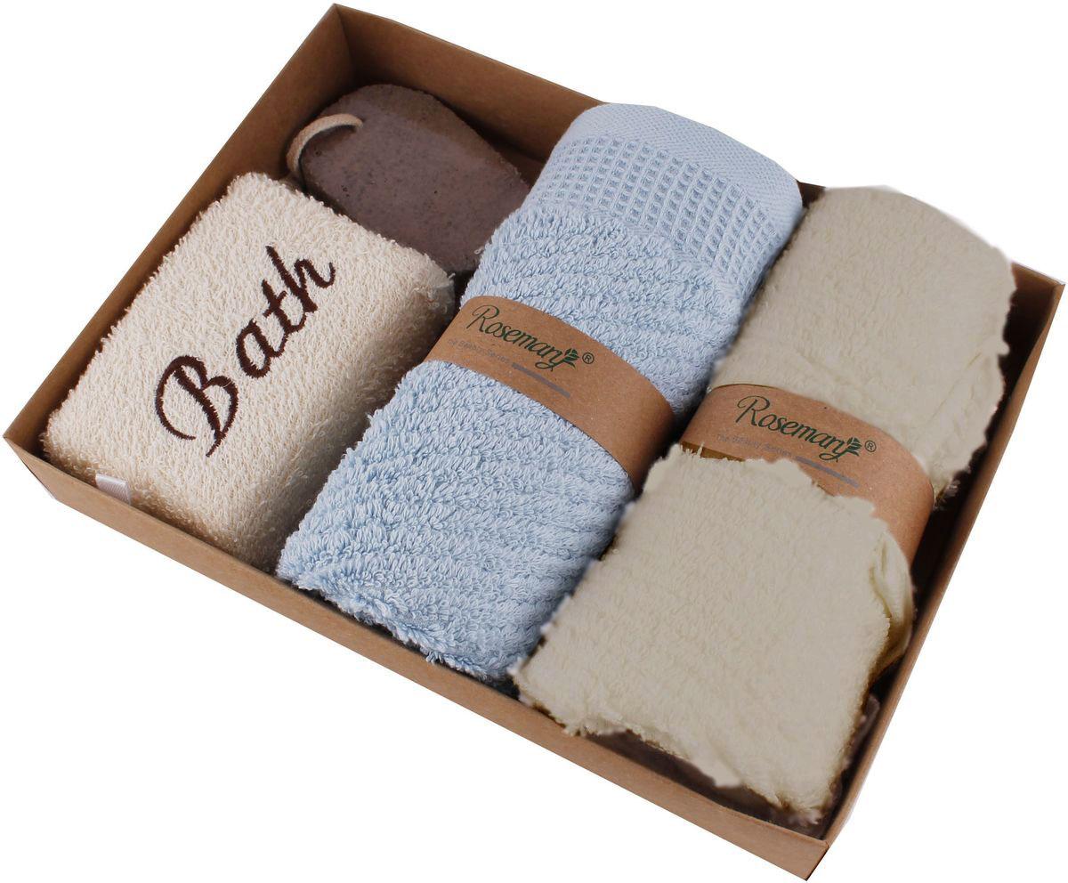 Набор банных аксессуаров Patricia, 4 предмета, цвет: бежевый, голубой. IM99-1334/2 полотенце набор хлопок 1017235