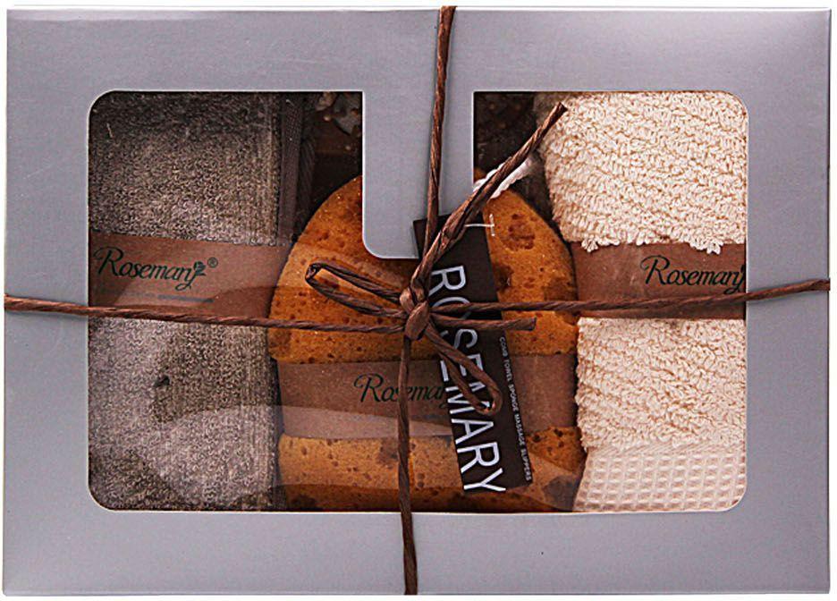 """Набор банных аксессуаров """"Patricia"""" включает в себя 4 предмета:    - массажная расческа (длина 15 см);   - губка, выполненная из поролона (15 х 10 см);    - мочалка из льна на веревочных ручках (69 х 10 см);  - полотенце из 100% хлопка (77 х 35 см).         Такой набор станет не заменимым и сделает банную процедуру еще более комфортной."""