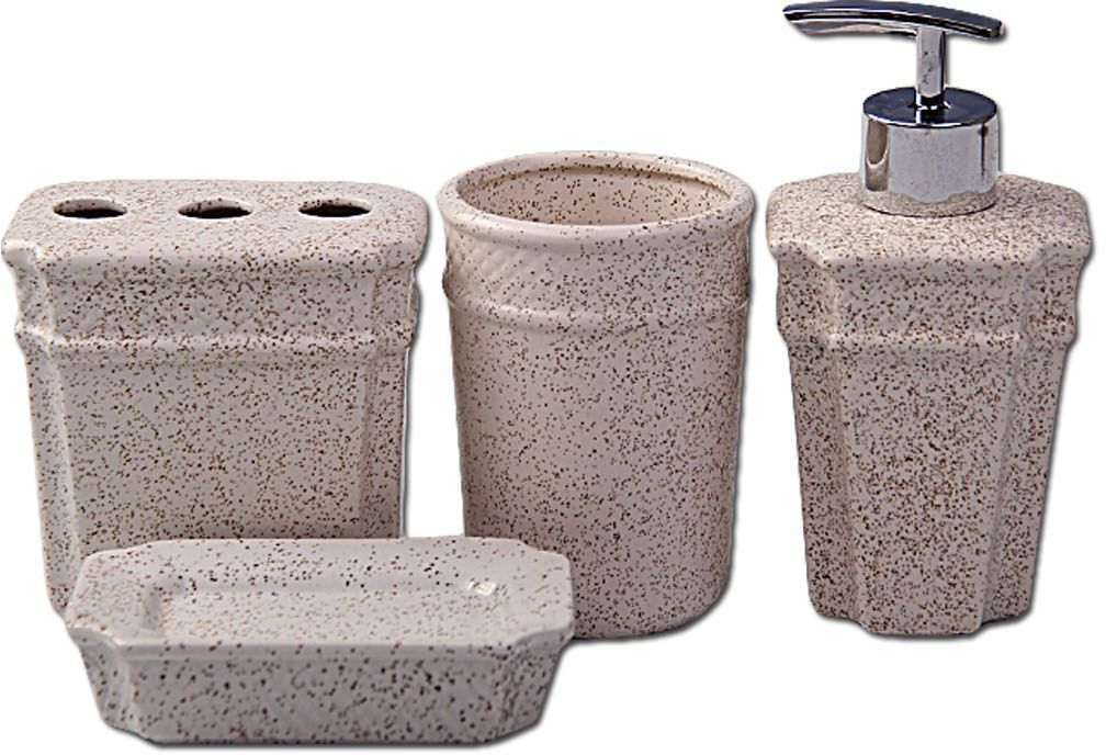 Набор для ванной комнаты выполнен из керамики. Набор для ванной можно использовать не только в качестве полезной детали, но и как отдельный аксессуар. Набор для ванной включает в себя: дозатор 14,5 х 7,5 х 7,5 см; стакан 10,5 х 6,5 х 6,5 см; подставка под зубные щетки 10 х 10 х 6 см; мыльница 11 х 8 х 3 см. Такой набор - это прекрасное дополнение вашей ванной комнаты.
