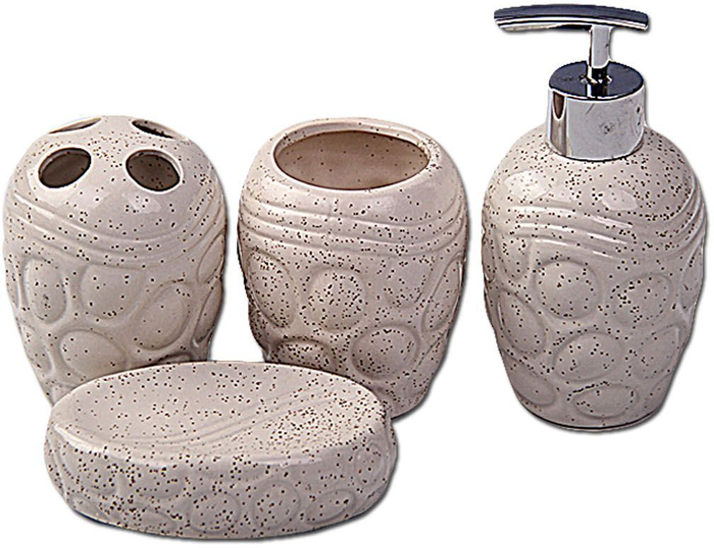 Набор для ванной Patricia, 4 предмета, цвет: белый. IM99-2383 ваза керамическая 14 х 9 х 30 см