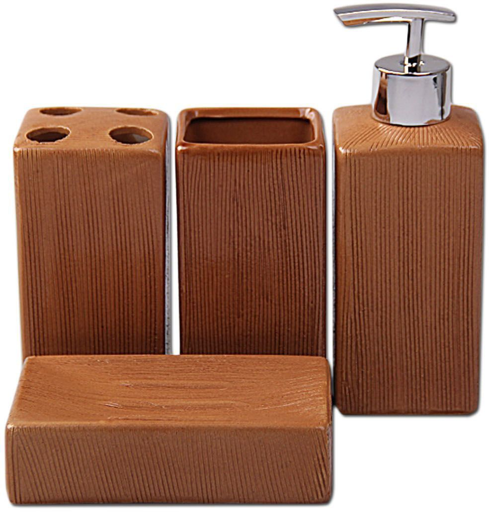 Набор для ванной Patricia, 4 предмета, цвет: коричневый. IM99-2384 стакан для ванной umbra droplet цвет дымчатый 9 3 х 9 6 х 9 6 см
