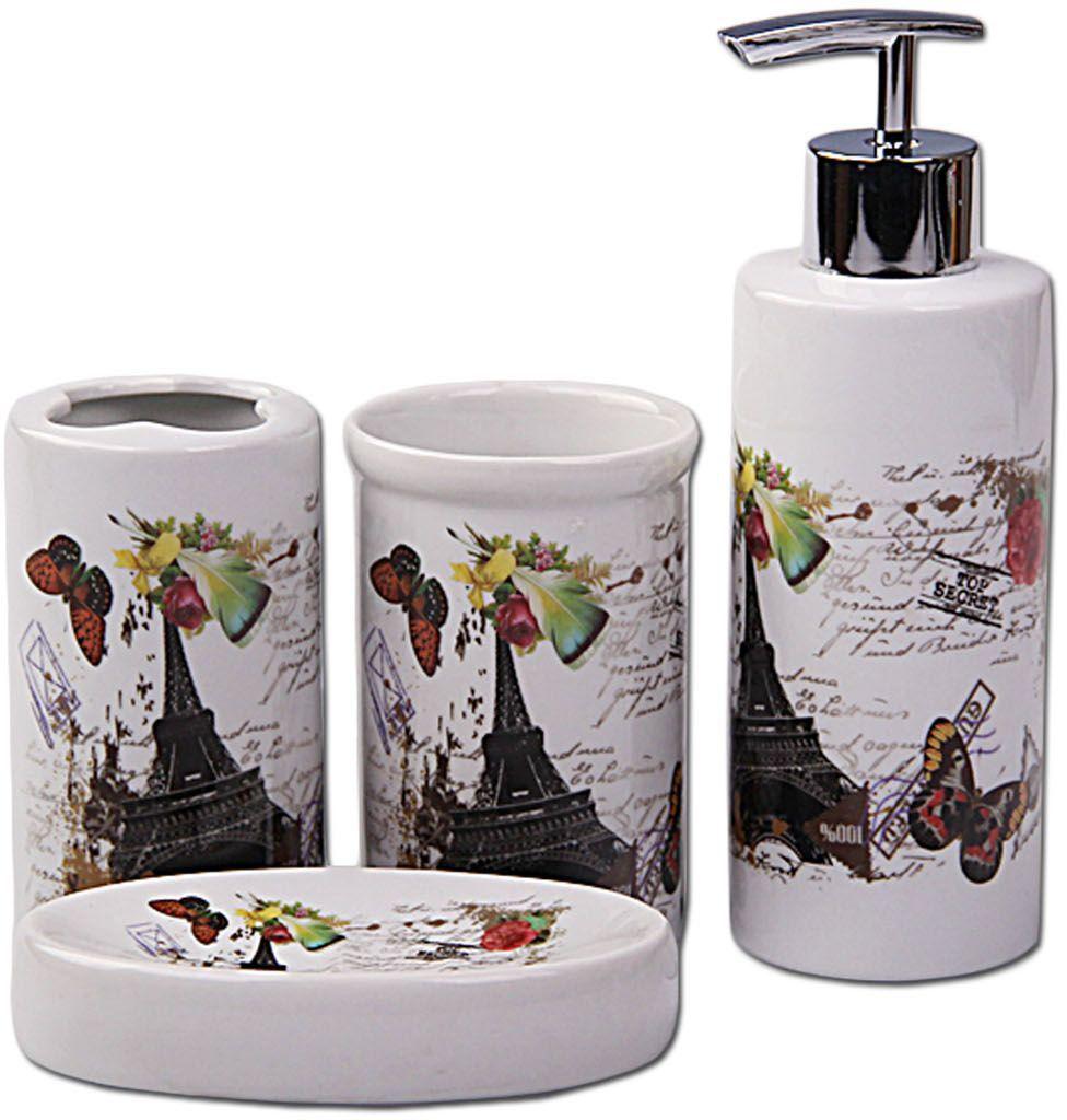 Набор для ванной Patricia, 4 предмета, цвет: белый, серый. IM99-2385/1 набор контейнеров patricia круглых 7 предметов im99 1401