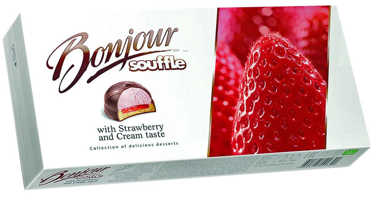Konti Bonjour Souffle клубника со сливками суфле, 232 г4600495522320Сочетание сахарного печенья, ароматного желе с натуральной клубникой и нежного суфле с ванильно-сливочным вкусом в шоколадной глазури, декорированное молочным шоколадом.Уважаемые клиенты! Обращаем ваше внимание на то, что упаковка может иметь несколько видов дизайна. Поставка осуществляется в зависимости от наличия на складе.