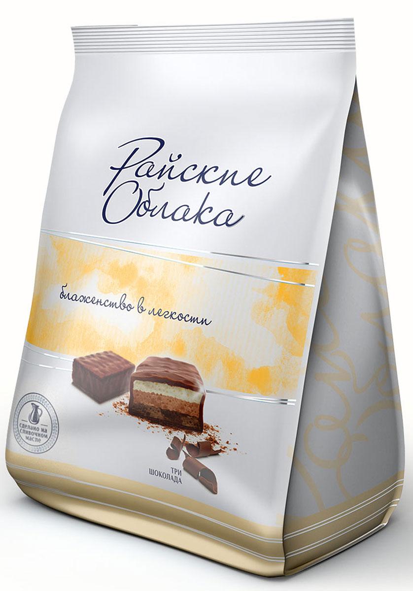 Райские Облака конфеты суфле три шоколада, 200 г4607134381485Конфеты Райские облака - это нежнейшее суфле в шоколадной глазури. Конфеты изготавливаются из натурального сливочного масла и высококачественного сгущенного молока, которые и создают вкус настоящего суфле.