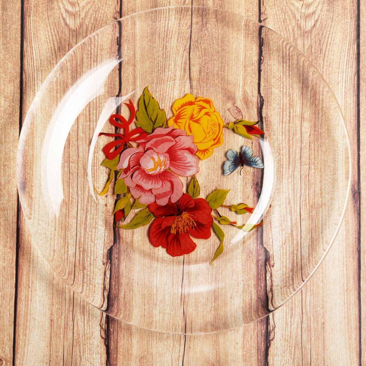 Тарелка Sima-land Букет цветов , диаметр 20 см2196443Красивая тарелка с рисунком дополнит праздничный стол, ведь прозрачное стекло выглядит элегантно и стильно.Предмет можно использовать в микроволновой печи и посудомоечной машине.При бережном обращении изделие будет радовать вас безукоризненным внешним видом долгие годы.