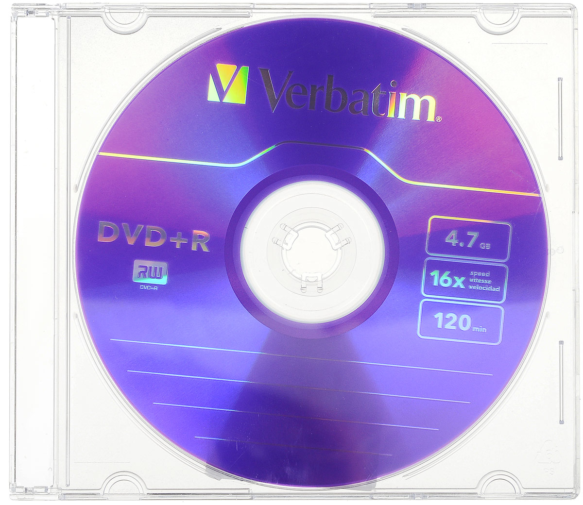 Verbatim DVD+R 4.7Gb 16x, 1 шт43556В дисках Verbatim используется технология MKM/Verbatim, обеспечивающая непревзойденное качество записи.Тесное сотрудничество отдела исследований и разработок компании Mitsubishi Chemical с производителямидисководов обеспечивает широкую совместимость дисков Verbatim, что делает их идеальными носителями дляпередачи компьютерных данных, домашних видеофильмов, фотографий и музыки.Уважаемые клиенты!Обращаем ваше внимание на цветовой ассортименттовара. Поставка осуществляется в зависимости от наличия на складе.