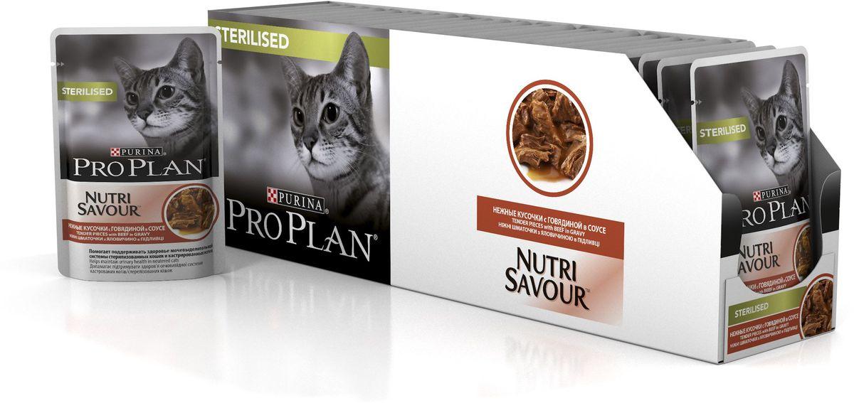 Консервы_Pro_Plan_~Nutri_Savour~_помогает_поддерживать_здоровье_мочевыделительной_системы_у_кастрированных_котов_и_стерилизованных_кошек._Способствует_поддержанию_оптимального_веса_тела_кошки._Помогает_поддерживать_естественную_защиту_организма_благодаря_содержанию_антиоксидантов,_таких_как_витамин_Е._Нежные_кусочки_в_пикантном_соусе_обладают_приятным_вкусом_благодаря_запатентованной_технологии_производства_департамента_Purina_компании_Nestle.Состав:_мясо_и_мясные_субпродукты_(в_том_числе_говядина_4%25),_экстракты_растительных_белков,_рыба_и_рыбные_субпродукты,_субпродукты_растительного_происхождения,_минеральные_вещества,_растительные_и_животные_жиры,_красители,_различные_сахара,_витамины.Добавленные_вещества:_МЕ/кг:_витамин_A_1204,_витамин_D3_168;_витамин_E_342,_мг/кг:_таурин_519,_железо_11,49,_йод_0,43,_медь_1,09,_марганец_2,01,_цинк_31,12,_селен_0,025.Гарантируемые_показатели:_влажность_78%25,_белок_13%25,_жир:_3,3%25,_сырая_зола_2%25,_сырая_клетчатка_0,5%25.Товар_сертифицирован.
