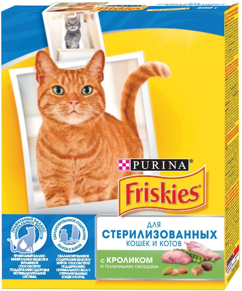 Корм сухой Friskies для стерилизованных кошек и кастрированных котов, с кроликом и полезными овощами, 300 г59903Сухой корм Friskies – это полнорационное сбалансированное питание, специально разработанное для стерилизованных питомцев. Особый баланс минеральных веществ и витаминов помогает поддерживать здоровье мочевыделительной системы. Правильный уровень содержания жиров и белков способствует поддержанию оптимального веса.Состав: злаки и продукты переработки злаков, мясо и продукты переработки мяса (мин. 1% кролика в коричневых и светло-коричневых крокетах), соевая мука, продукты переработки овощей (мин. 1% овощей в зеленых и оранжевых крокетах), животный жир, клетчатка, вкусовые добавки, регулятор кислотности (Е338), витамины, минеральные вещества, аминокислоты, антиокислители (Е320, Е310, Е321), красители (Е102, Е132, Е110, Е122, Е124).Питательные вещества в 100 г: сырой белок 34%, сырой жир 8%, сырая зола 7%, сырая клетчатка 4%, кальций 1г, железо 17мг, фосфор 1г, марганец 2,8мг, натрий 0,4 г, цинк 14 мг, магний 0,13 г, селен 43 мкг, медь 1,7 мг, витамин А 650 МЕ, витамин D3 85 МЕ, витамин Е 7,5 мг, таурин 100 г, витамин группы В 17 мг.Товар сертифицирован.