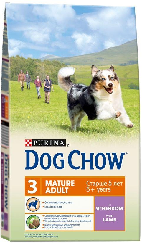 Корм сухой Dog Chow Mature Adult для взрослых собак старше 5 лет, с ягненком, 800 г корм dog chow senior ягненок 2 5kg для собак старше 9 лет 12308782