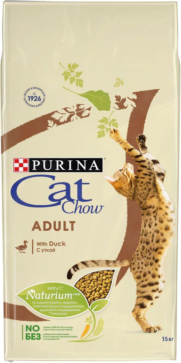 Корм сухой Cat Chow Adult для взрослых кошек, с уткой, 15 кг пребиотический напиток viyo reinforces cat adult для взрослых кошек 7 х 30 мл