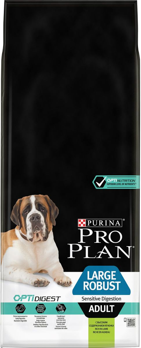 Корм сухой Pro Plan Adult Large Robust, для взрослых собак крупных пород с мощным телосложением, с ягненком, 14 кг65276Оптимальное питание является основой для здоровья и благополучия. Разработанный нашими ветеринарами и диетологами корм Purina Pro Plan Adult Large Robust с комплексом Optihealth обеспечивает самое современное питание, которое оказывает долгосрочное влияние на здоровье собаки. Комплекс Optihealth представляет сочетание специально отобранных питательных веществ для собак разных размеров и телосложения, который отвечает их особым потребностям и помогает сохранить отличное состояние.Состав: ягненок (19%), кукуруза, сухой белок птицы, рис (12%), кукурузная крупа, кукурузный глютен, сухая мякоть свеклы, вкусоароматическая кормовая добавка, животный жир, минеральные вещества, яичный порошок, рыбий жир, соевое масло, витамины, аминокислоты, L-карнитин, антиоксиданты (токоферолы природного происхождения). Витамины: МЕ/кг:витамин A: 20 000; витамин D3: 650; витамин E: 550. Мг/кг: витамин C: 140; железо: 63; йод: 1,6; медь: 9,9; марганец: 30; цинк: 120; селен: 0,10. Белок: 26%, жир: 12%, сырая зола: 7,5%, сырая клетчатка: 2,5%. Товар сертифицирован.