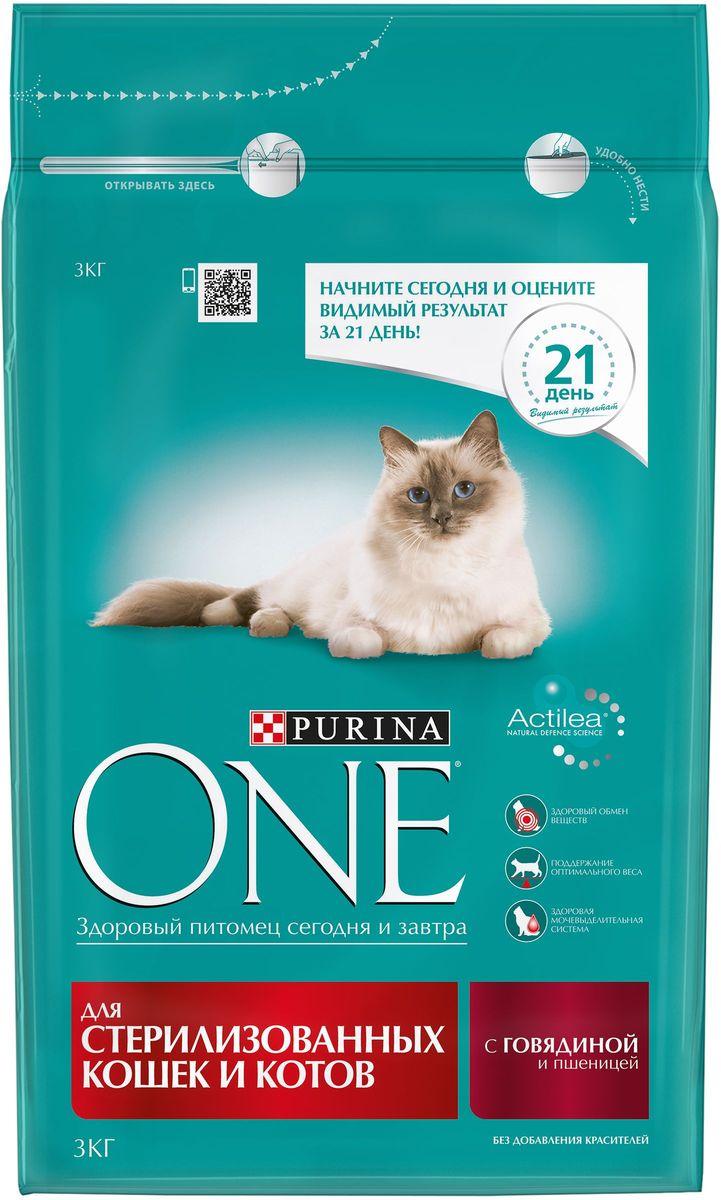 Корм сухой Purina One Sterilized для стерилизованных кошек и котов, с говядиной и пшеницей, 3 кг корм для чувствительных кошек purina one