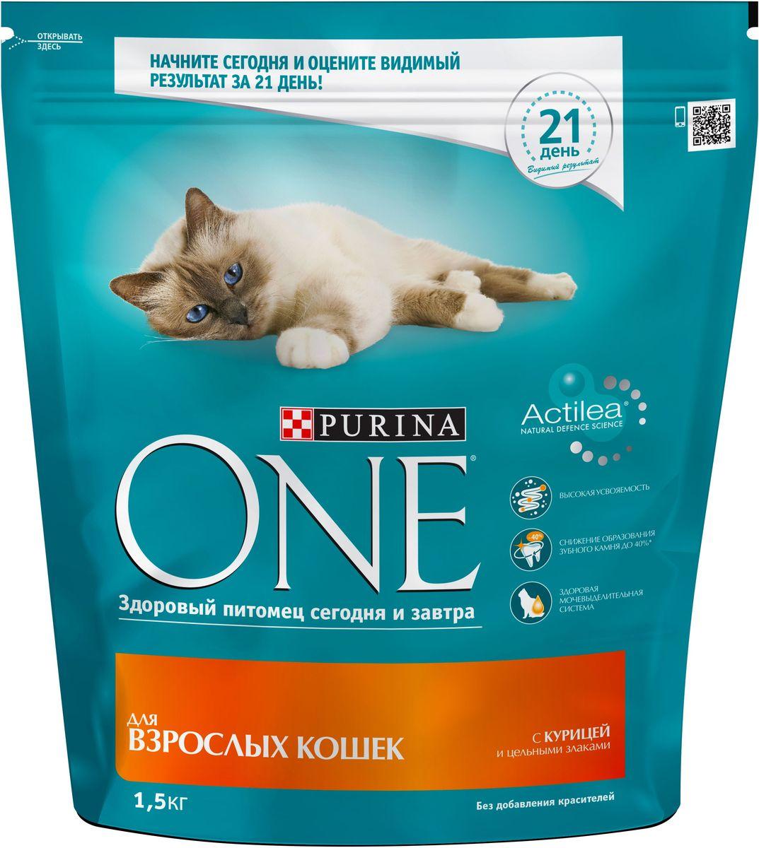 Корм сухой Purina One Adult для взрослых кошек, с курицей и цельным злаками, 1,5 кг one корм для кошек цена