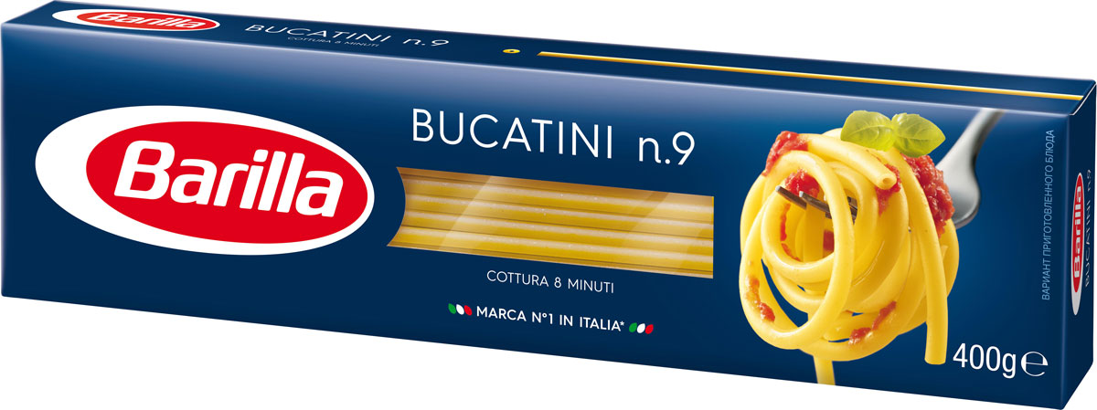 Barilla Bucatini паста букатини, 400 г8076809572064Итальянская паста Barilla Bucatini традиционно производится из муки твердых сортов пшеницы и воды. Букатини - толстые полые итальянские спагетти. Благодаря своей уникальной форме, она прекрасно удерживает соус на своей поверхности и позволяет ему раскрыть всю гамму вкусов и ароматов. Barilla является всемирно известным производителем настоящей итальянской пасты. История этой фирмы берет свое начало в городе Парма, где простой булочник Петро Барилла в 1877 году открыл маленький магазинчик и начал продавать свежую пасту. К 1900 году Барилла начал уже промышленное производство и с тех пор его компания непрерывно развивается и расширяется.
