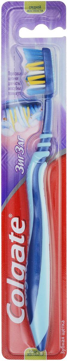 Colgate Зубная щетка Зиг-Заг, средней жесткости, цвет: синий, голубойFVN50537_синий, голубойColgate Зиг-Заг - зубная щетка средней жесткости. Перекрещивающиеся щетинки позволяют проникать щетке в межзубные пространства, а также легко массируют десна. Мягкая подушечка для чистки языка, помогает удалять бактерии, вызывающие неприятный запах изо рта. Гибкая прорезиненная рифленая ручка не скользит в ладони, амортизирует давление руки на нежную поверхность десен.
