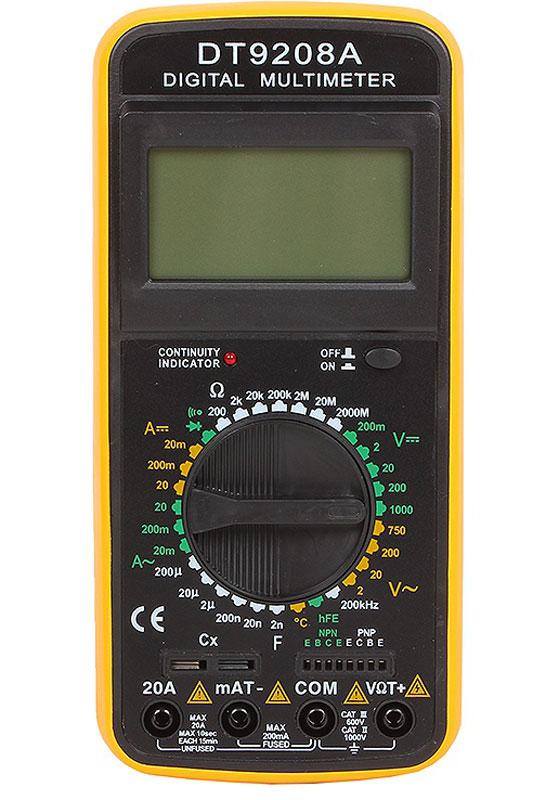 Мультиметр цифровой ТЕК DT 9208A61/10/507Мультиметр ТЕК DT 9208A предназначен для измерения тока, напряжения, сопротивления, параметров диодов и транзисторов, а также частоты и температуры. Прибор многофункционален, портативен, питается от химических источников, удобен при ремонте электрооборудования автомобиля, лабораторных измерений. Особенности: 32-х позиционный переключатель режимов работы и пределов. Большой дисплей с изменяемым наклоном. Высокая чувствительность - 100 мкВ. Автоматическая индикация перегрузки - 1. Автоматическое определение полярности постоянного тока или напряжения. Все пределы защищены от перегрузок. Измерение сопротивления от 0,1 Ом до 200 МОм. Измерение емкости от 1 пФ до 20 мкФ. Проверка диодов прямым стабильным током 1 мА. Измерение h21E транзисторов при Ib=10 мкА и напряжении эмиттер-коллектор 3 В. Точность базового постоянного тока +-0,5%. Точность гарантирована в течение 1 года при 23+-5°С и относительной влажности менее 75%. Общие характеристики: Максимум дисплея: 1999 чисел (3,5 разряда) с автоматическим определением полярности и единиц измерения. Метод индикации: ЖКИ дисплей. Метод измерений: АЦП двойного интегрирования. Индикация перегрузки: 1 в старшем разряде. Максимальное синфазное напряжение: 500 В пост/переменного эффекта. Скорость измерений: 2-3 измерения/сек. Температура гарантированной прочности: 23+-5°С. Интервал температур: работа от 0°С до +40°С. Хранение от -10°С до +50°С. Индикация разряда батареи: символ на дисплее. Вес: 310 г.