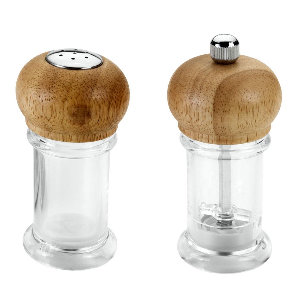 Набор Metaltex: солонка и мельница для перца25.28.16Набор Metaltex, состоящий из солонки и мельницы для перца, изготовлен из пластика и дерева. Солонка и мельница для перца легки в использовании. Набор оригинального дизайна займет достойное место среди аксессуаров на вашей кухне, и вы с легкостью сможете поперчить или добавить соль по вкусу в любое блюдо.Так же набор может стать отличным подарком для практичной и современной хозяйки. Характеристики: Материал:пластик, сталь, дерево. Высота емкости: 10,5 см. Диаметр основания: 4,5 см.