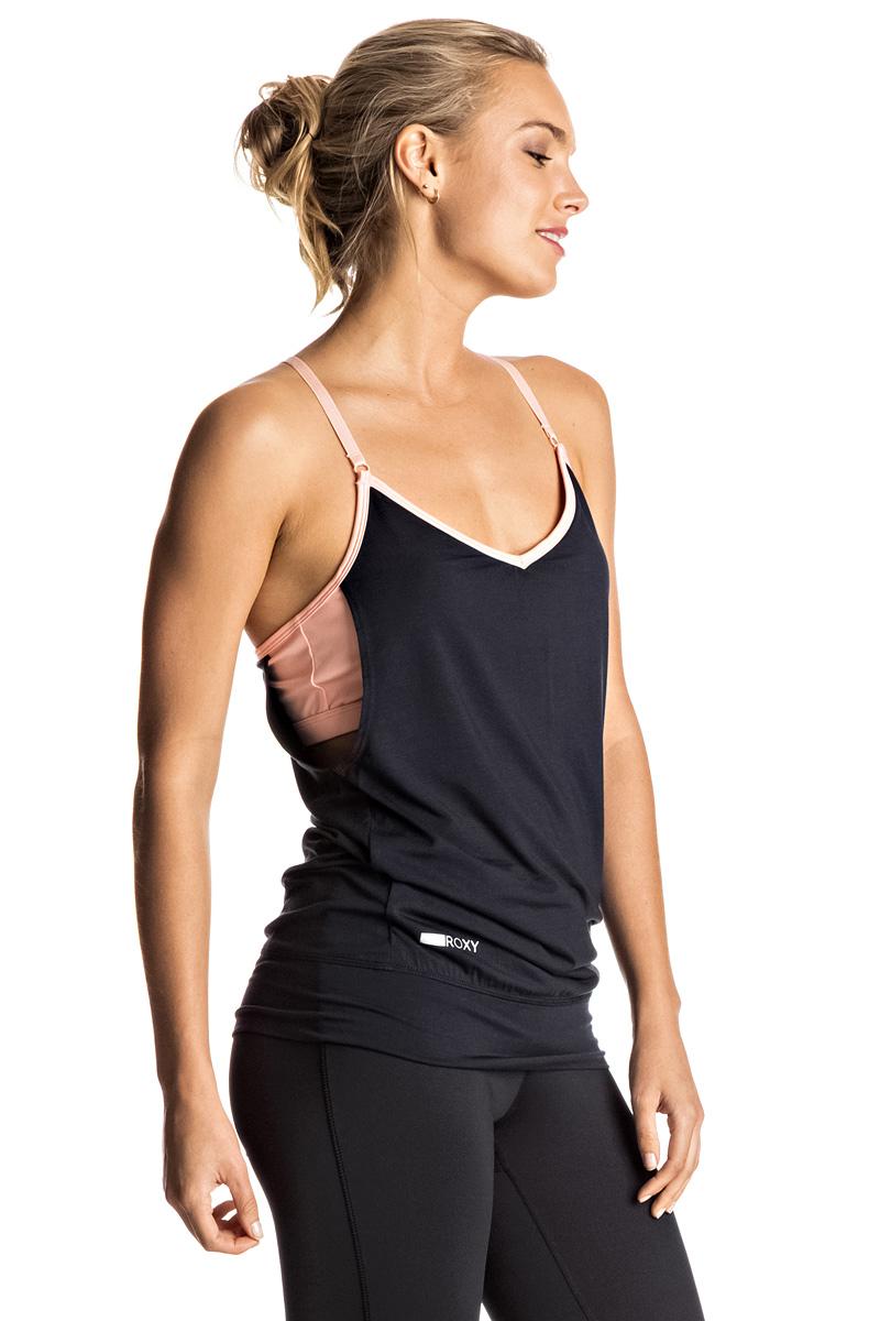 цены на Майка с поддержкой женская Roxy Mastame, цвет: черный, персиковый. ERJKT03227-KVJ0. Размер 40 (XS) в интернет-магазинах