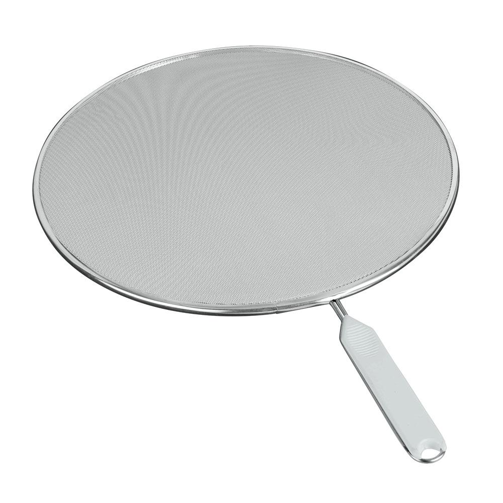 """Охранное сито """"Metaltex"""" изготовлено из стали. Сито предназначено для охраны плиты и окружающей обстановки от загрязнения при сильной жарке - положите сито на сковороду и используйте как крышку. Также можно использовать как сито для процеживания, либо как подставку под горячее.  Характеристики:  Диаметр: 29 см. Длина ручки: 13 см."""