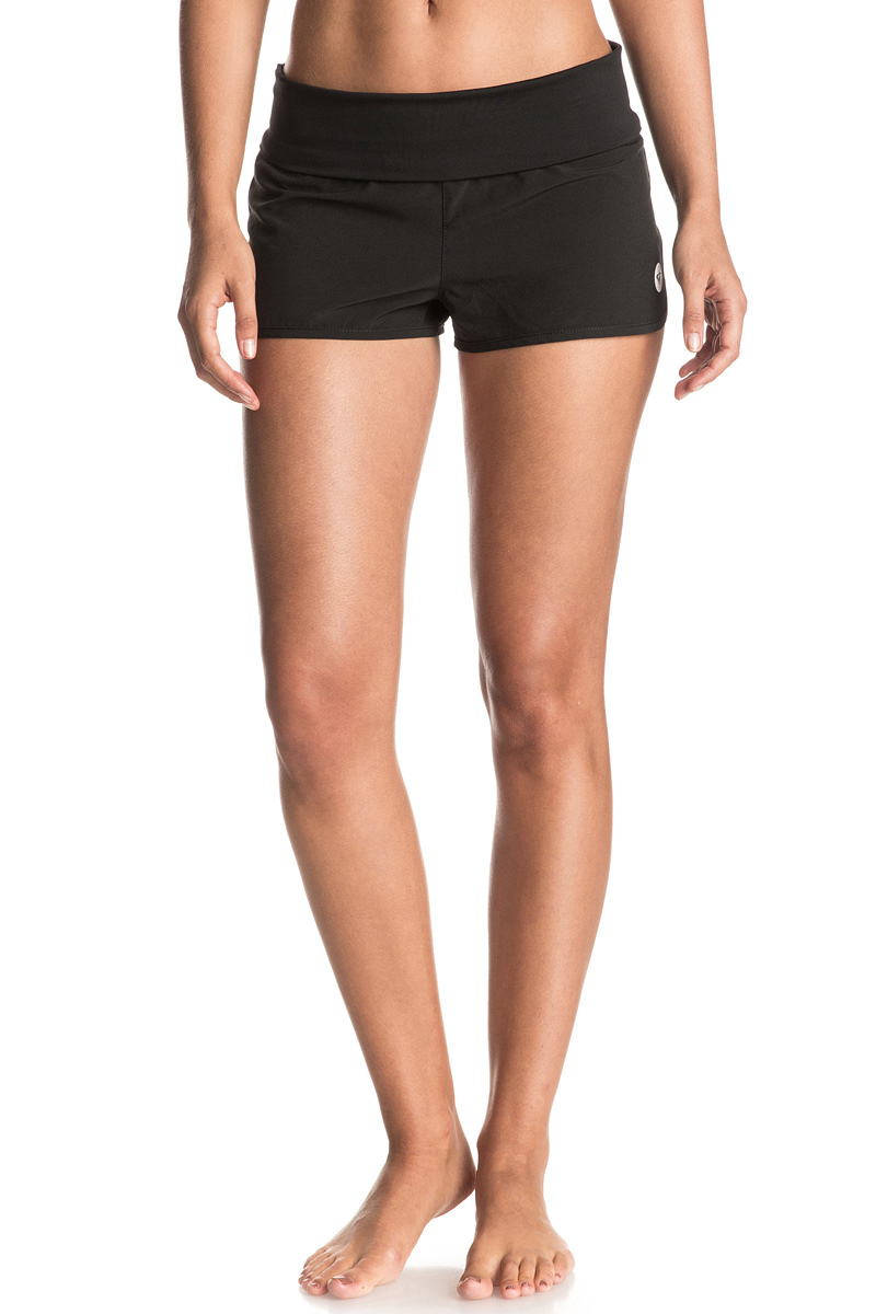 цены на Шорты пляжные женские Roxy Endless Summer, цвет: черный. ERJBS03078-KVJ0. Размер 40 (XS) в интернет-магазинах