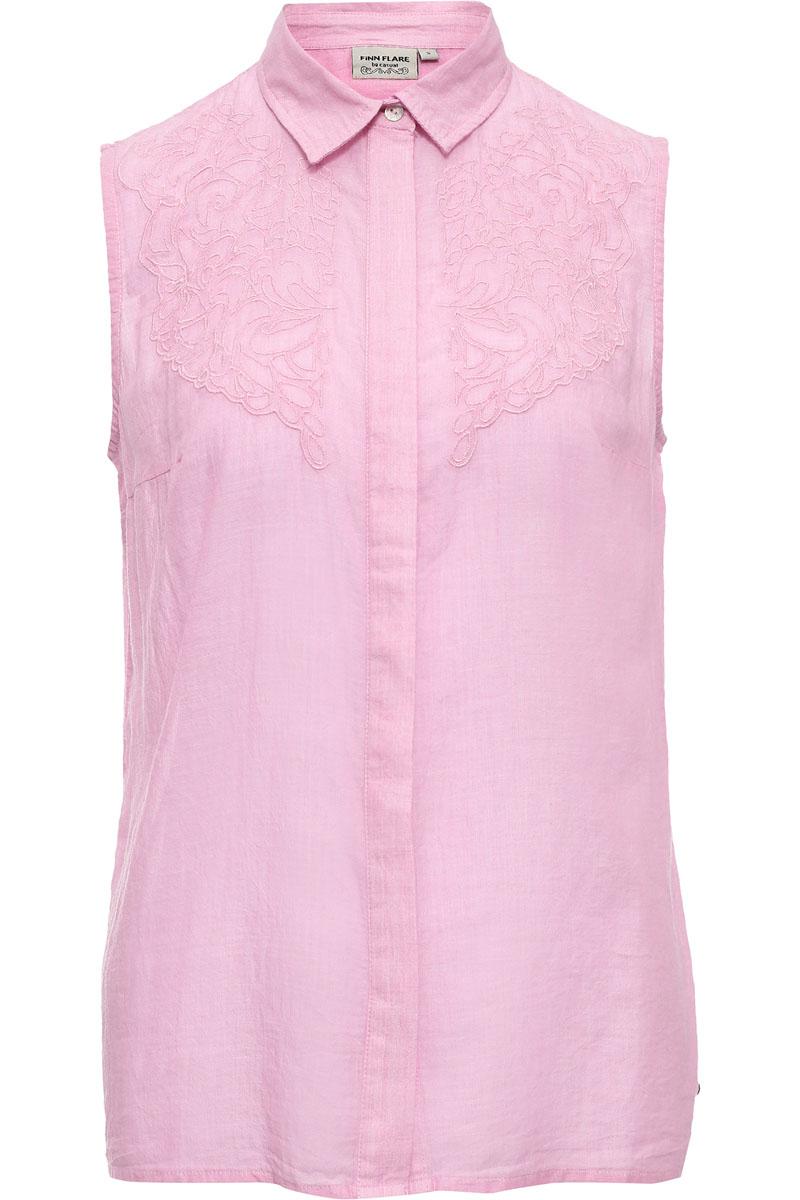 Блузка женская Finn Flare, цвет: розовый. S17-14076_324. Размер M (46)S17-14076_324Стильная блузка нежного розового цвета, прямого кроя, с вышитыми узорами в тон модели станет отличным топом для создания летних образов. Блузка без рукавов, спинка длиннее передней части, что отвечает актуальной моде на асимметричность. Модель можно носить как навыпуск, так и заправив в юбку или брюки. Выполнена из лёгкого и прочного хлопка.