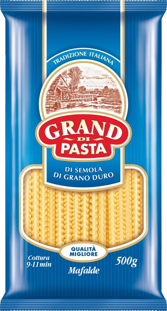 Grand Di Pasta лапша мафалде волна, 500 г pasta zara перо гладкое макароны 500 г