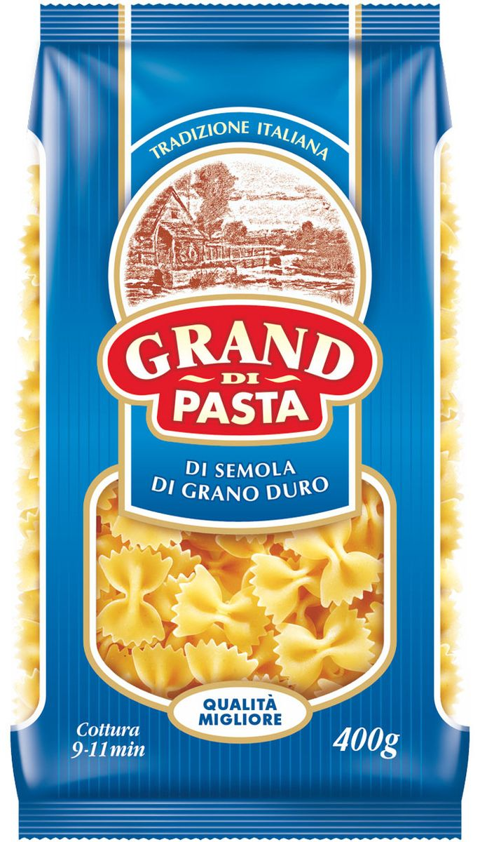 Grand Di Pasta бабочки фарфалле, 400 г1014-3Изделия макаронные группы А, высшего сорта.Лайфхаки по варке круп и пасты. Статья OZON Гид