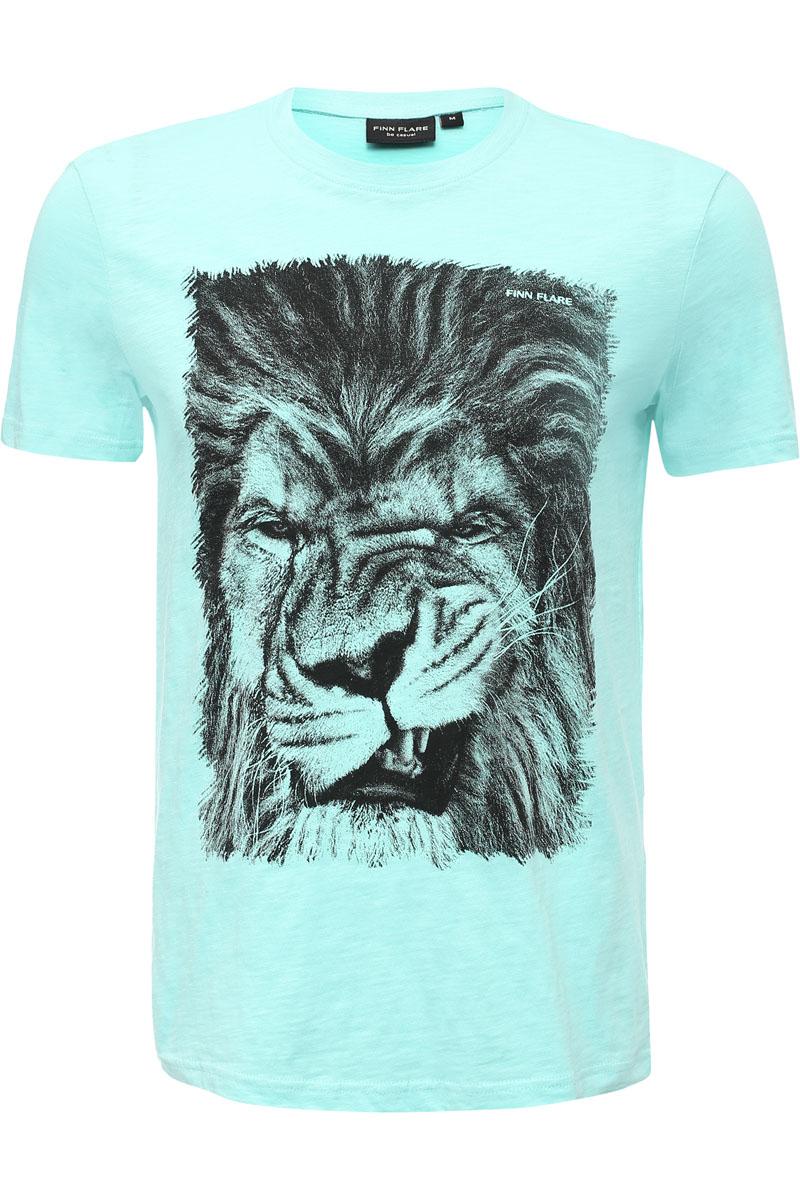 Футболка мужская Finn Flare, цвет: светло-бирюзовый. S17-24029_136. Размер M (48)S17-24029_136Футболка приталенного кроя станет отличным приобретением для летнего сезона. Украшенная на груди изображением льва, эта модель дополнит ваш повседневный образ комфортом. Выполнена футболка из качественного и износостойкого хлопка.