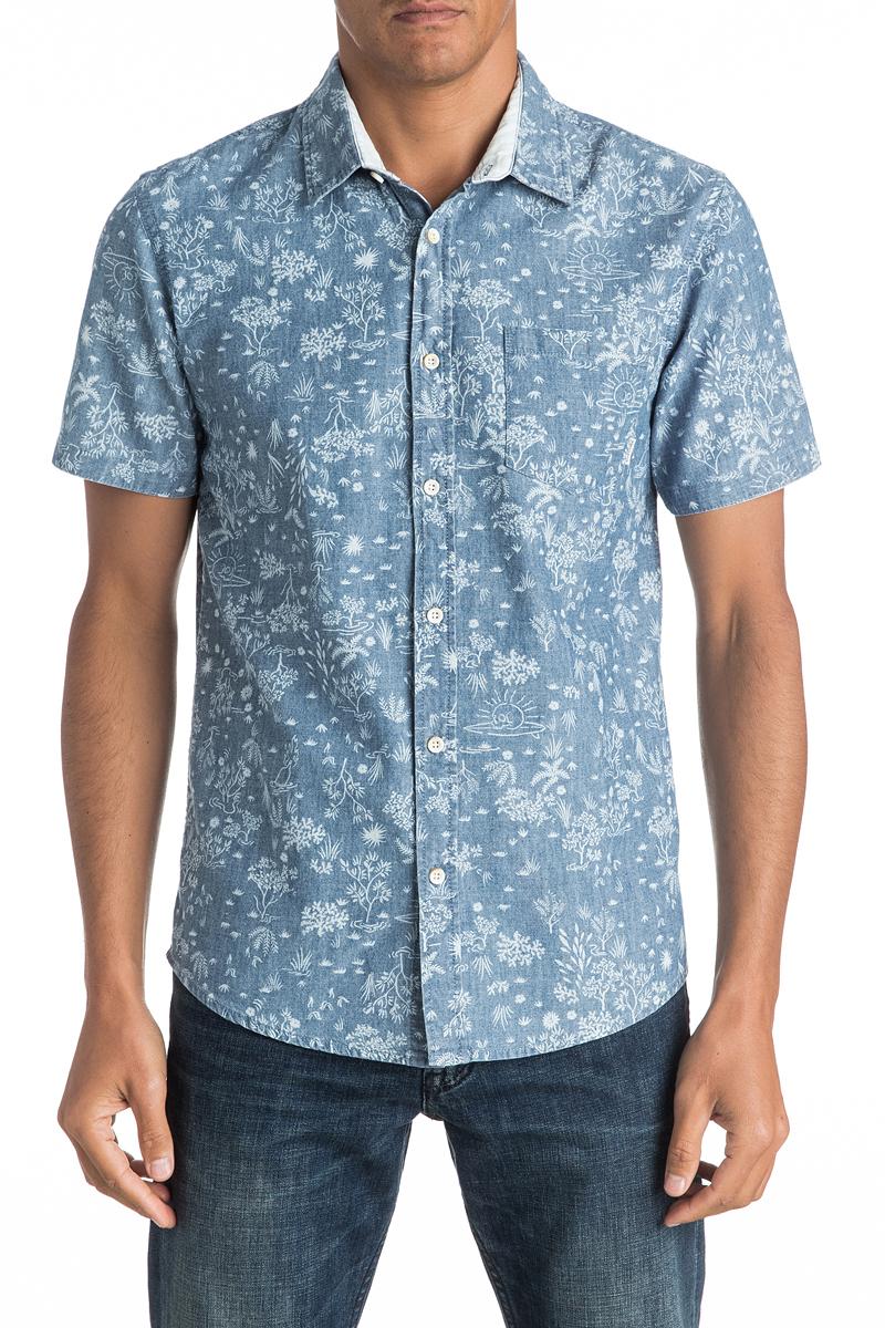 Рубашка мужская Quiksilver, цвет: синий. EQYWT03443-BND6. Размер M (48)EQYWT03443-BND6Мужская рубашка Quiksilver с коротким рукавом, выполнена из натурального хлопка. Изделие прямого кроя с закругленным низом, имеется нагрудный накладной карман. Модель оформлена оригинальным принтом.