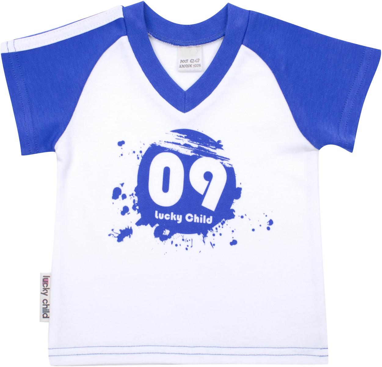 Футболка для мальчика Lucky Child Летний марафон, цвет: белый, голубой. 19-262. Размер 98/104 футболка для мальчика lucky child цвет сине зеленый молочный 21 262 размер 98 104