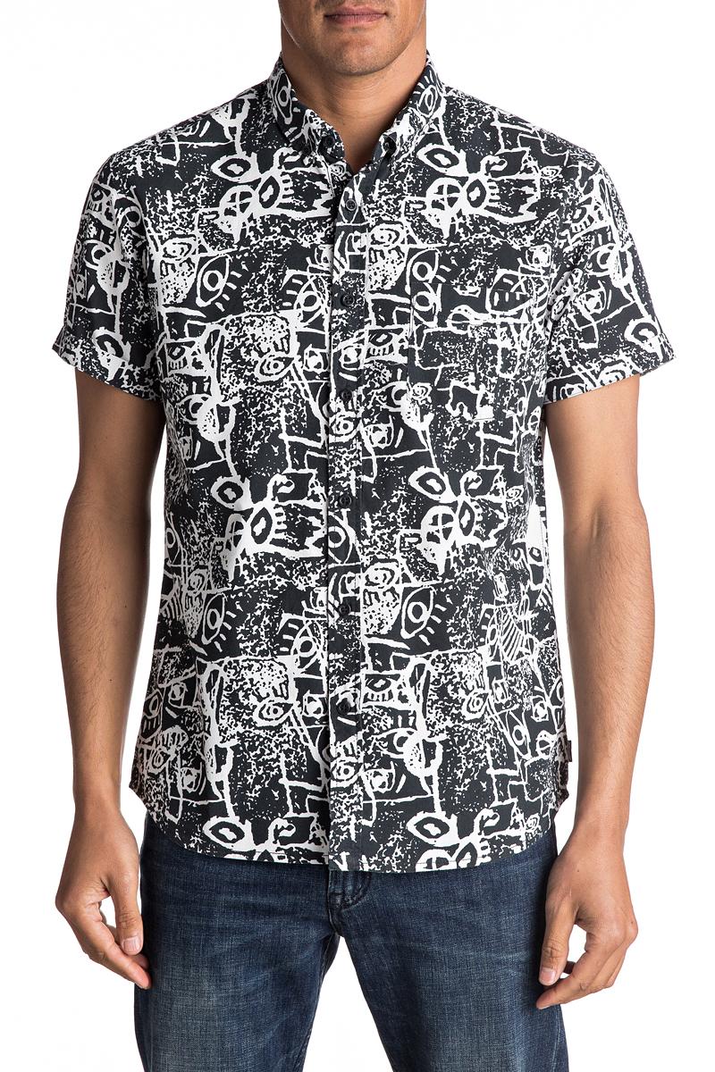 Рубашка мужская Quiksilver, цвет: черный, белый. EQYWT03490-KVJ6. Размер XXL (56) футболка мужская quiksilver цвет белый eqyzt04285 wbb0 размер xxl 56