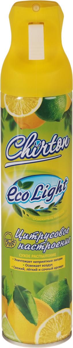 """Освежитель воздуха Chirton """"ECO Light. Цитрусовое настроение"""", содержащий  высококачественные натуральные ароматизаторы, не просто маскирует  неприятные запахи, а быстро, легко и эффективно их уничтожает. Он имеет  свежий, легкий и сочный аромат, который надолго наполнит ваш дом отличным  настроением. Уникальный триггер обеспечивает очень удобное  использование освежителя и его мягкое сухое микрораспыление без капель и  брызг.  Товар сертифицирован.    Уважаемые клиенты! Обращаем ваше внимание на возможные изменения в дизайне упаковки.  Качественные характеристики товара остаются неизменными. Поставка  осуществляется в зависимости от наличия на складе."""
